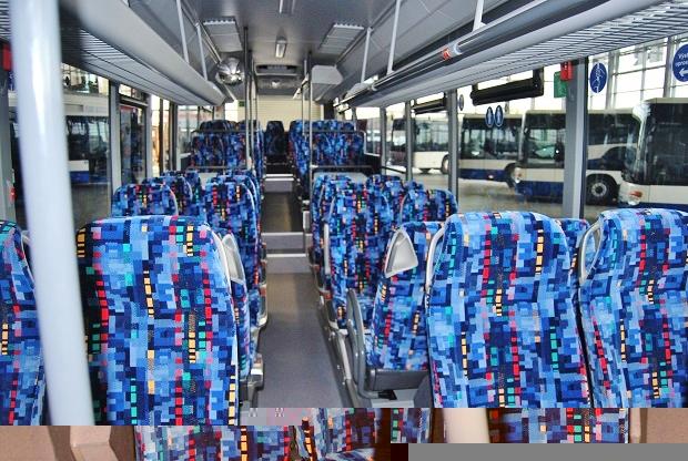 Interiér Setra 415 business LE MultiClass v barvách Icom transport, všechna sedadla jsou vybavena pásy: foto: Zdeněk Nesveda